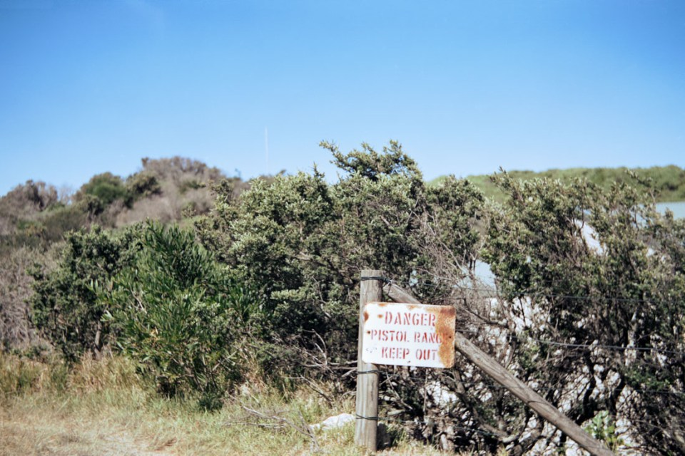 Pistol Range sign | Voigtländer Bessa I | Cinestill 50D