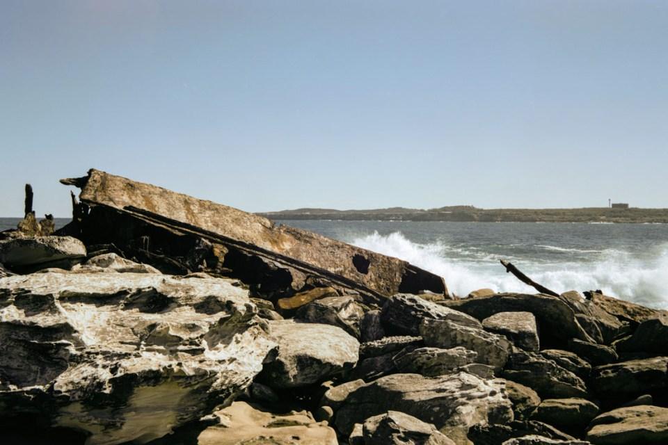 Ship wreck on rocks | Voigtländer Bessa I | Cinestill 50D