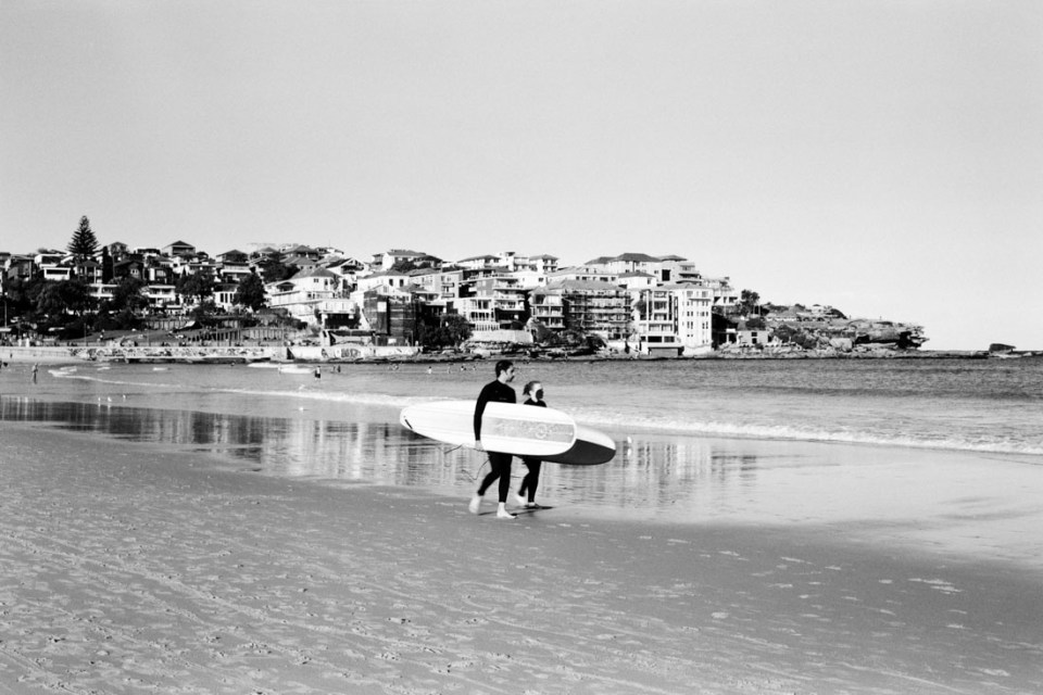 Surfers at Bondi | Mamiya Press Super 23 | Sekor 100mm f/3.5 | Kodak Tri-X