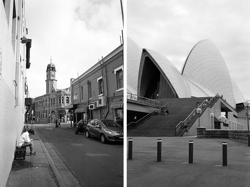 (left) Newtown alley | Mamiya Press Super 23 | Sekor Seikosha-S 65mm f/6.3| Kodak Tri-X (right) Sydney Opera House | Mamiya Press Super 23 | Sekor 100mm f/3.5 | Kodak Tri-X @ EI 800