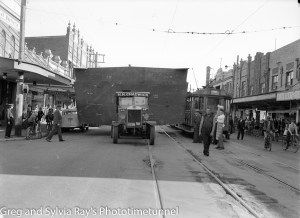 Barge section on truck in Maitland Road, Mayfield, June 30, 1945.
