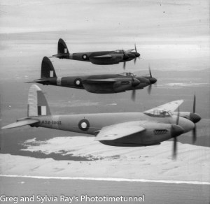Mosquito aircraft photographed over the Newcastle area during World War 2.