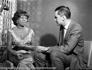 American jazz singer Sarah Vaughan being interviewed by Australian television identity Ray Taylor in Sydney, May 18, 1965.