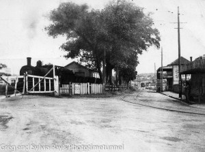 Steam train near Wallsend tram terminus, circa 1945