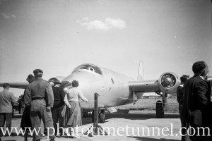 Canberra bomber at an air show at RAAF Williamtown fighter base, near Newcastle, NSW, in the early 1960s.
