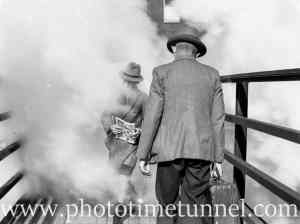Crossing the overbridge at Newcastle Railway Station, June 6, 1939.