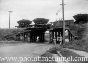An accident involving coal wagons on the rail bridge at Howe Street, Lambton, NSW, circa 1946. (4)