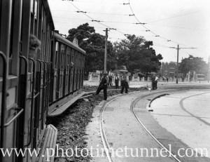 Tram near Gregson Park, Tudor Street Hamilton, Newcastle, NSW, December 1939.