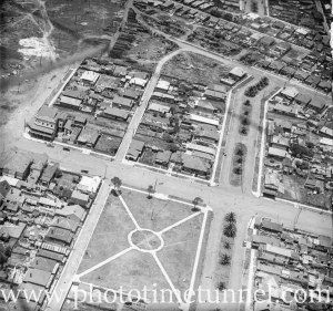 Aerial view of the suburb of Carrington, Newcastle, NSW, circa 1940s.