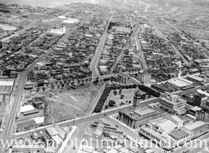 Aerial view of the Civic area of Newcastle, NSW, circa 1940s.