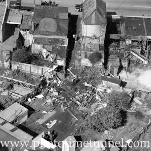 Aerial view of The Junction, Newcastle, NSW, after a RAAF Sabre jet fighter crash on August 17, 1966. (14)