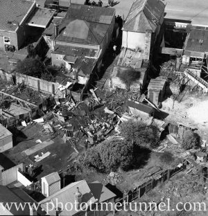 Aerial view of The Junction, Newcastle, NSW, after a RAAF Sabre jet fighter crash on August 17, 1966. (15)