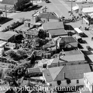 Aerial view of The Junction, Newcastle, NSW, after a RAAF Sabre jet fighter crash on August 17, 1966. (27)