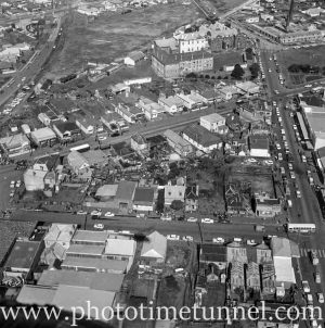 Aerial view of The Junction, Newcastle, NSW, after a RAAF Sabre jet fighter crash on August 17, 1966. (8)