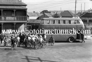 Double-decker bus in an accident with a car, Newcastle, NSW, March 17, 1939. (2)