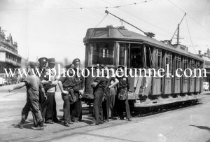 Damaged tram after an accident in Newcastle, NSW, October 20, 1949. (2)