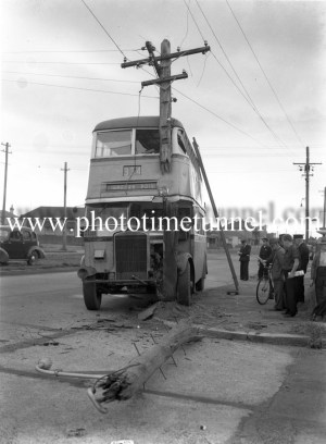 Double-decker bus after a collision with a power pole at Tudor Street, Hamilton, Newcastle, NSW, October 4, 1951.