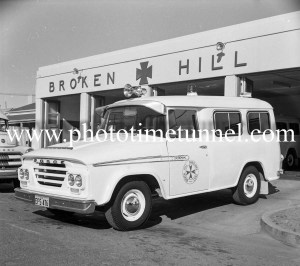Dodge ambulance at Broken Hill ambulance station, NSW, c1960s.