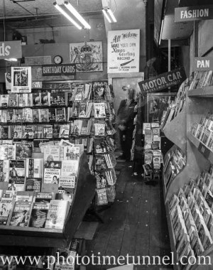 Interior of Poole's newsagency, Adamstown, Newcastle, NSW, in the 1960s.