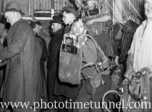 Mines rescue team leaving fire-damaged Aberdare Central pit near Kitchener, in the Hunter Valley, NSW, during attempts to reopen the mine, July 1, 1944. (7)