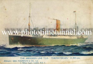Aberdeen Line's TSS Themistocles. Scanned from a postcard in Greg and Sylvia Ray's collection.