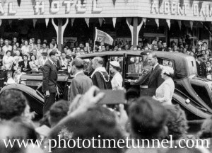 Queen Elizabeth II and Prince Philip at Stockton, Newcastle, NSW, February 9, 1954.