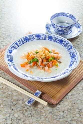 【鮮蝦瑤柱雜菜粥】給餐館的好用素材