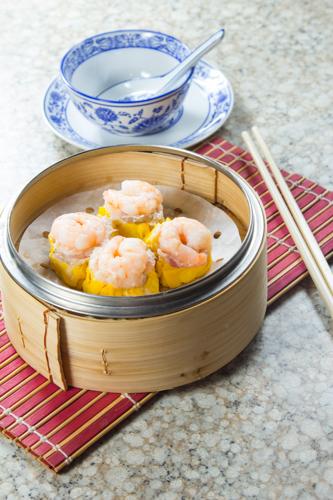 【一籠四隻港式茶樓美味鮮蝦燒賣】給餐館的好用素材