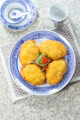 【酒樓晚宴會菜海鮮焗釀蟹蓋】印刷級的美食相