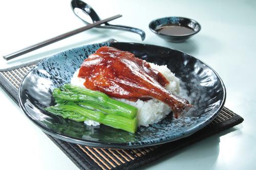 【港式燒臘燒鵝髀碟頭飯油菜】專業食物攝影師的圖片庫