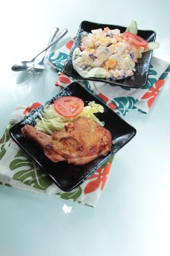 【茶餐廳風味炸雞髀配鮮果沙律】可以下載的食物相
