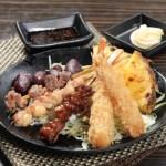 【惹味香口小食菠蘿雞肉日本番薯仔串燒拼盤吉列炸蝦】飲食業專用素材圖像