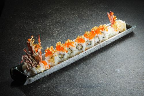 【豪華日本料理金箔蟹子炸大蝦卷物壽司】下載即用價格相宜餐牌相片