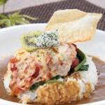 焼きチーズトマトほうれん草カレーライス・ダウンロード可能なグルメ写真素材