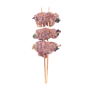 black pepper chive beef roll skewer
