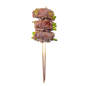 garlic shoot beef roll skewer