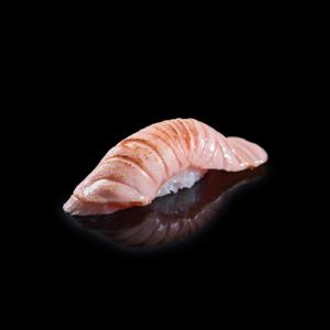 【火炙三文魚壽司】飲食業專用退地無背景素材圖像