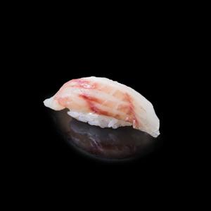 鯛魚壽司 黑色背景倒影版本的去背退地食物素材相片