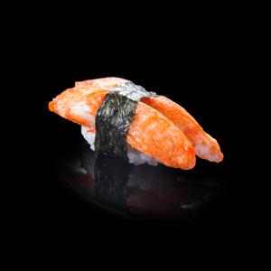 蟹棒壽司 黑色背景倒影版本的去背退地食物素材相片