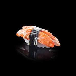 火炙蟹棒壽司 黑色背景倒影版本的去背退地食物素材相片