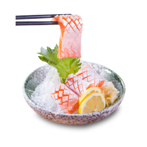 用筷子夾起三文魚腩魚生的去背退地食物素材相片