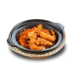 砂鍋番茄汁炸大蝦的去背退地食物素材相片