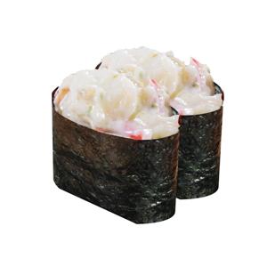 龍蝦沙拉軍艦壽司兩件的去背退地食物素材相片