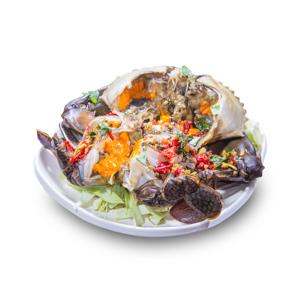 醬醃爆膏潮汕赤蟹的去背退地食物素材相片