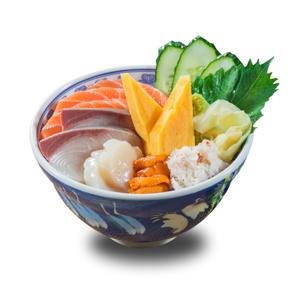【油甘魚海膽帆立貝蟹肉三文魚刺身丼飯】可能比實物更美味的美食圖