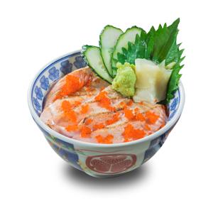 蟹子火炙三文魚刺身丼飯的去背退地食物素材相片