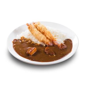吉列炸蝦咖哩飯的去背退地食物素材相片