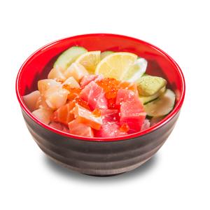 雜錦壽司刺身丼飯的去背退地食物素材相片