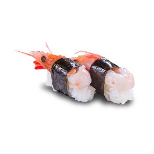 兩件海苔甜蝦壽司的去背退地食物素材相片