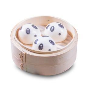 蒸籠蒸一籠三件熊貓造型饅頭的去背退地食物素材相片